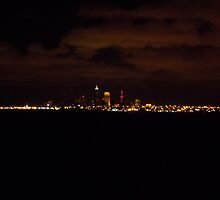 Cleveland Skyline at night by bbaxter18