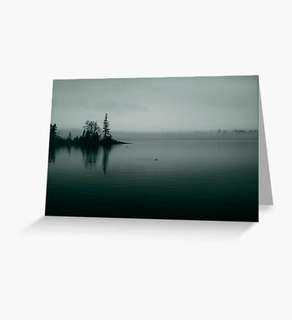 Foggy Harbor ~Teal Duo-tone Greeting Card