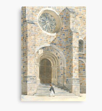 Front Façade - Bussière-Badil Church, France Canvas Print