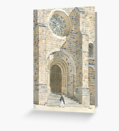 Front Façade - Bussière-Badil Church, France Greeting Card