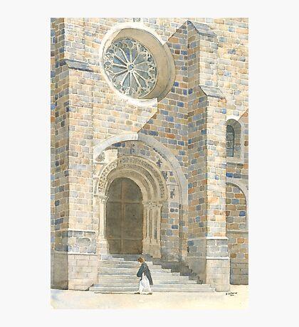Front Façade - Bussière-Badil Church, France Photographic Print