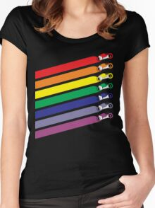 Race The Rainbow Women's Fitted Scoop T-Shirt