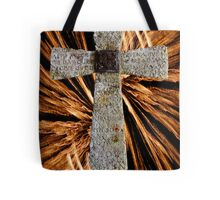 Lord's prayer cross with fireworks Tote Bag