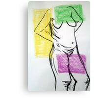 Coloured Nude Pose Canvas Print