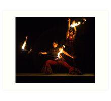 Cirque Roots, Fire Dancers (1 of 2). Tucson, Arizona, USA. Art Print