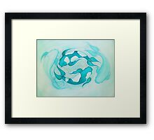 Aqua Tranquil Blue Koi Carp Fishes in Pond Framed Print