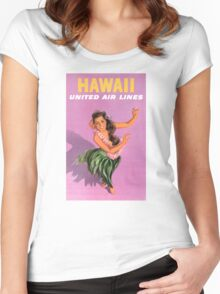 Hawaii Vintage Travel Poster Restored Women's Fitted Scoop T-Shirt