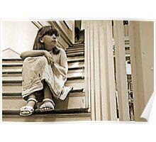Girl on Steps Poster