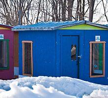Fishing Huts (panno - please view full image) by Wanda Dumas