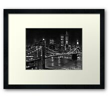 Brooklyn Bridge New York Pencil Drawing Framed Print