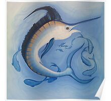 Marlin Blue Deep Sea Wild Game Fish Poster