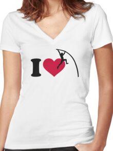 I love Pole vault Women's Fitted V-Neck T-Shirt