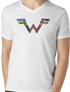 W Dragonfight-cooltexture B&WCarnival of Doooom w/Text Mens V-Neck T-Shirt