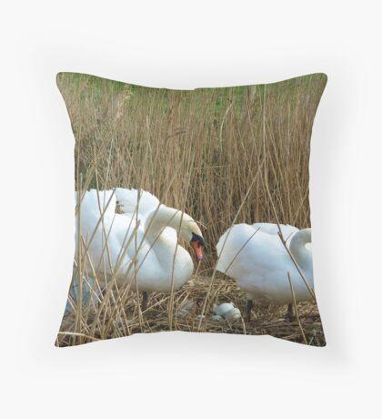Wild swans nesting Throw Pillow