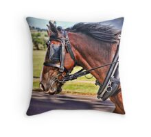 Horses at work Throw Pillow