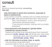 What does consult mean ? by santoshputhran