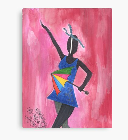 Frevo girl with colorful umbrella Canvas Print