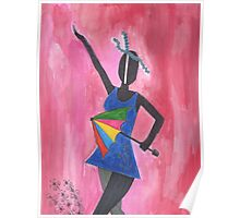 Frevo girl with colorful umbrella Poster
