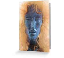 Blue Face With Collar Greeting Card