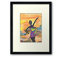 Frevo girl with colorful umbrella 2 Framed Print