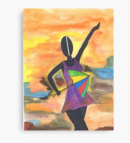 Frevo girl with colorful umbrella 2 Canvas Print