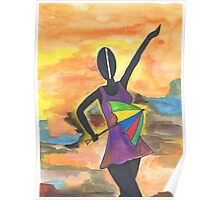 Frevo girl with colorful umbrella 2 Poster