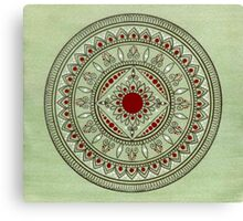 Hand Drawn Green And Red Mandala Canvas Print
