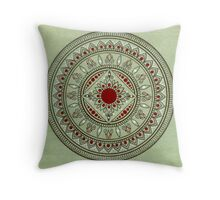Hand Drawn Green And Red Mandala Throw Pillow
