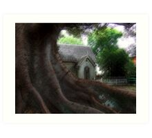 Cemetary Lodge by the big fig tree Art Print