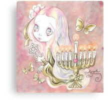 Sweet Menorah Girl Canvas Print