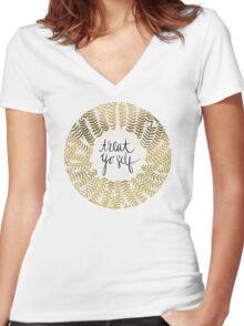 Treat Yo Self – Gold Women's Fitted V-Neck T-Shirt