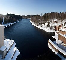 Winter at Muhos Dam, Finland by Nnebr