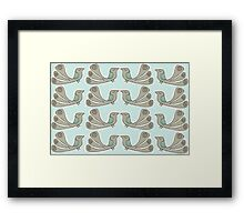 quirkybird repeat aqua Framed Print