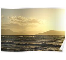 Moody Winter Grecian Sunset Poster