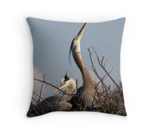 Great Blue Heron Nest Builders Throw Pillow