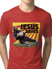 JESUS SAVES ( SOCCER ) Tri-blend T-Shirt