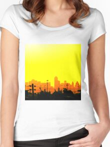 Yellow skyline Women's Fitted Scoop T-Shirt
