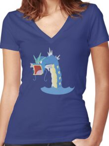 Angry Gyarados! Women's Fitted V-Neck T-Shirt