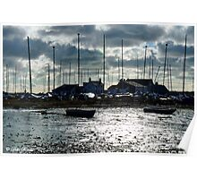 Boats at Mudeford before the storm Poster