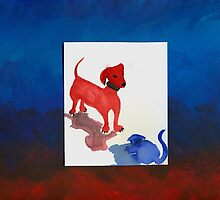 red dog vs blue cat by Marita Wohlfert