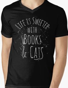 life is sweeter with books & cats #white Mens V-Neck T-Shirt