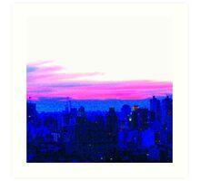 Neon Pink Skyline Art Print