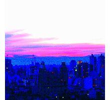 Neon Pink Skyline Photographic Print