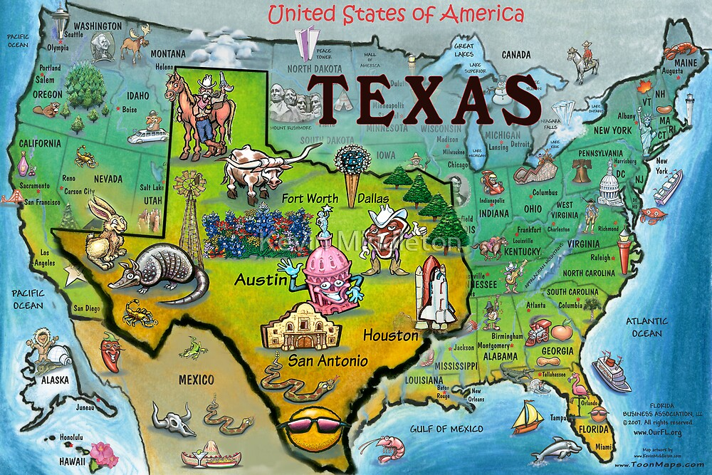 Quot Texas Usa Cartoon Map Quot By Kevin Middleton Redbubble