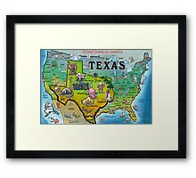 Texas USA Cartoon Map Framed Print