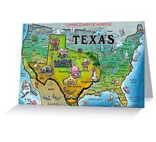 Texas USA Cartoon Map Greeting Card