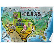Texas USA Cartoon Map Poster