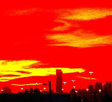 Red Skyline by Fabstract