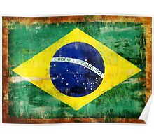 Brazil old painted flag Poster
