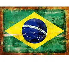 Brazil old painted flag Photographic Print